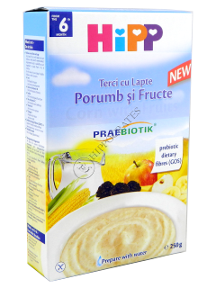 HIPP Terci cu lapte porumb si fructe 250 g