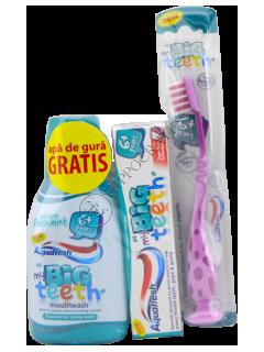 Зубная паста дет. Аквафреш Big Teeth (6 лет+) 50 мл + зуб.щётка + ополаскиватель 300 мл