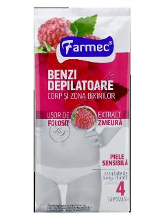 Фармек депиляционные полоски для тела и области бикини с экстрактом малины (14 полосок+2 салфетки)