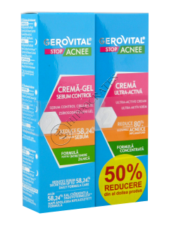 Gerovital Stop Acnee Pachet Promo crema- gel sebum control 50ml+crema ultra activa 15ml