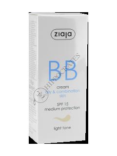 Зиажа BB крем для жирной и комбинированной кожи, светлый  тон, SPF 15, 50мл